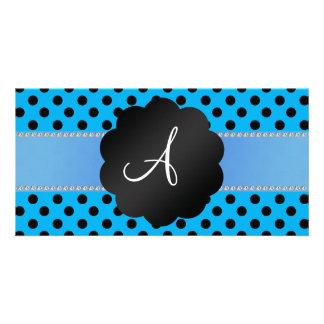 Monogram blue black polka dots photo cards