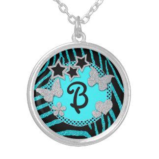 Monogram Blue Black Silver Zebra Glitter Necklace