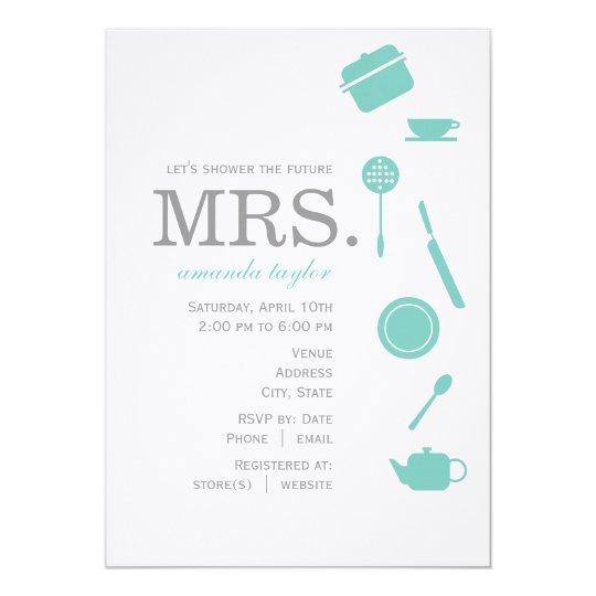 Monogram Blue Bridal Shower Invitations