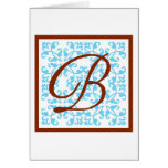 Monogram Blue Brown - B Greeting Card