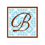 Monogram Blue Brown - B Postcard