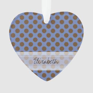 Monogram Blue Brown Cute Chic Polka Dot Pattern