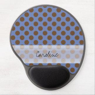 Monogram Blue Brown Cute Chic Polka Dot Pattern Gel Mouse Pad