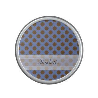 Monogram Blue Brown Cute Chic Polka Dot Pattern Speaker