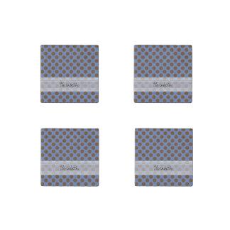 Monogram Blue Brown Cute Chic Polka Dot Pattern Stone Magnet
