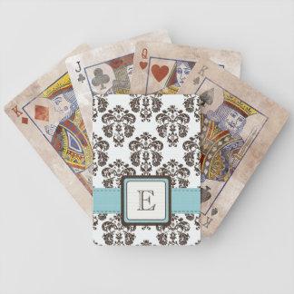 Monogram Blue Brown Damask Bicycle® Playing Cards