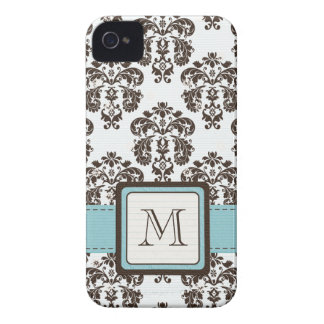 Monogram Blue Brown Damask iPhone 4 4s Case-Mate C iPhone 4 Cover