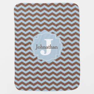 Monogram Blue & Brown Zigzag Custom Baby Blanket