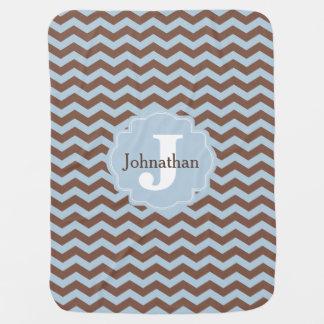 Monogram Blue & Brown Zigzag Custom Baby Blanket