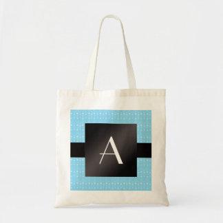 Monogram blue bubbles budget tote bag