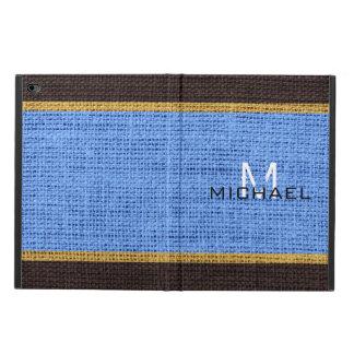 Monogram Blue Burlap Linen Rustic Jute Powis iPad Air 2 Case