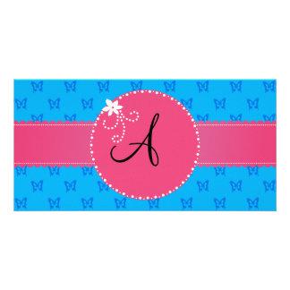 Monogram blue butterflies pink flower circle photo card