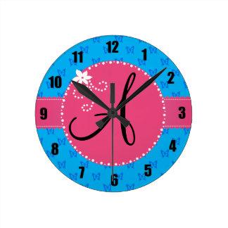 Monogram blue butterflies pink flower circle round clock