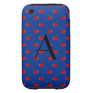 Monogram blue cherry pattern tough iPhone 3 cover
