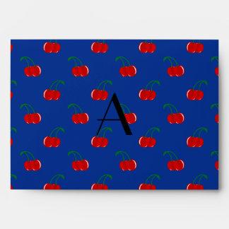 Monogram blue cherry pattern envelope