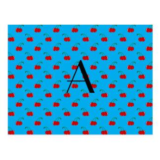 Monogram blue cherry pattern postcard