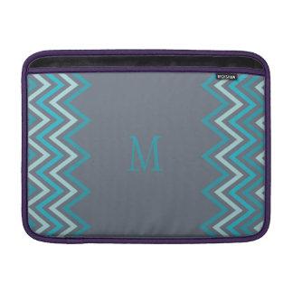 Monogram Blue Chevron MacBook Sleeve