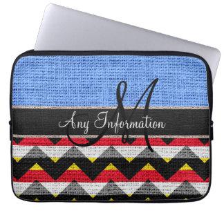 Monogram Blue Chevron Zigzag Burlap Jute Laptop Sleeve