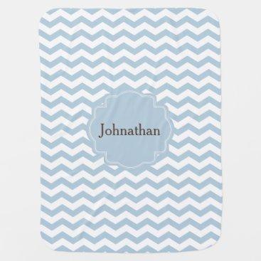 Toddler & Baby themed Monogram Blue Chevron Zigzag Custom Baby Blanket