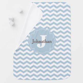 Monogram Blue Chevron Zigzag Custom Baby Blanket