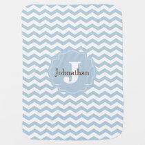 Monogram Blue Chevron Zigzag Custom Baby Blanket