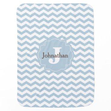 theburlapfrog Monogram Blue Chevron Zigzag Custom Baby Blanket