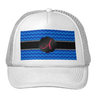 Monogram blue chevrons mesh hats