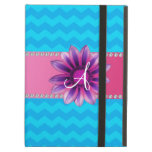 Monogram blue chevrons pink daisy iPad folio cases
