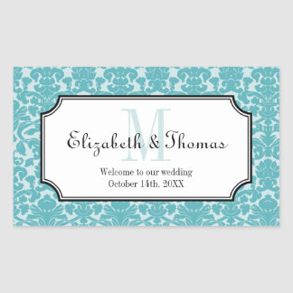 Monogram blue damask frame out of town gift bag rectangular stickers