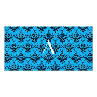 Monogram Blue damask Photo Card