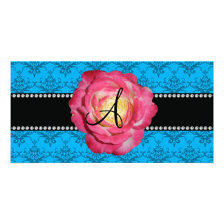 Monogram blue damask pink rose photo card