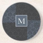 monogram blue damask sandstone coaster