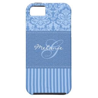 Monogram Blue Damask Stripe iPhone 5 Vibe Case iPhone 5 Case
