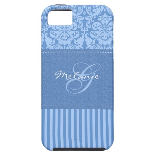 Monogram Blue Damask Stripe iPhone 5 Vibe Case
