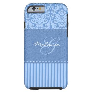 Monogram Blue Damask Stripe iPhone 6 case Vibe Cas