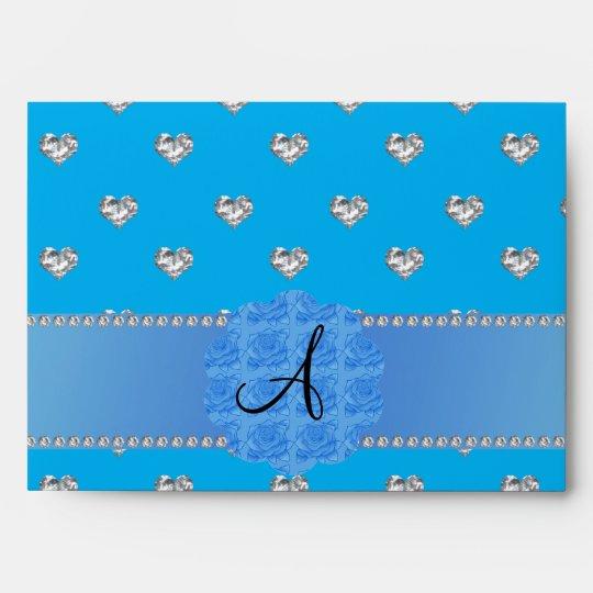 Monogram blue diamonds hearts envelope