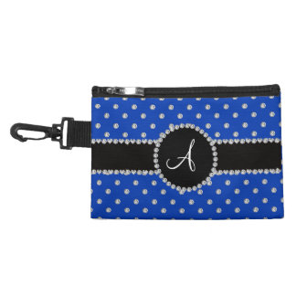 Monogram blue diamonds polka dots accessories bag