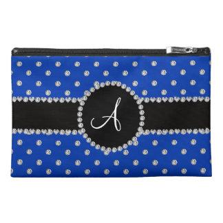 Monogram blue diamonds polka dots travel accessory bag