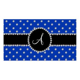 Monogram blue diamonds polka dots business cards