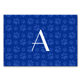 Monogram blue dog paw prints table cards