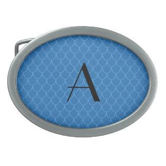 Monogram blue dragon scales oval belt buckles