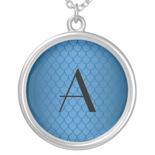 Monogram blue dragon scales necklace