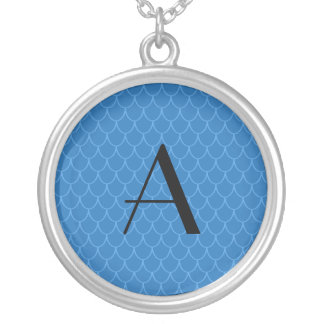 Monogram blue dragon scales round pendant necklace