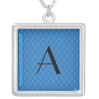 Monogram blue dragon scales square pendant necklace