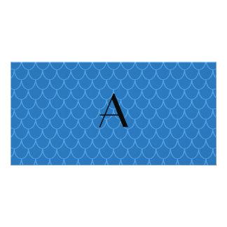 Monogram blue dragon scales photo card