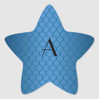Monogram blue dragon scales star sticker