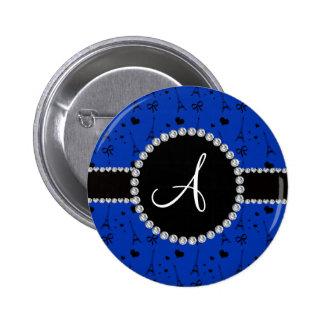 Monogram blue eiffel tower pattern 2 inch round button