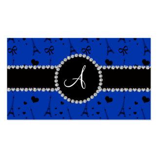 Monogram blue eiffel tower pattern business cards