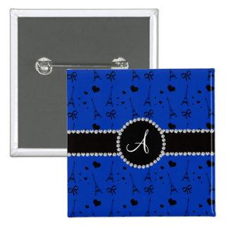 Monogram blue eiffel tower pattern 2 inch square button