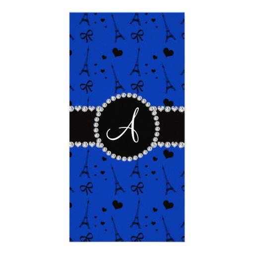 Monogram blue eiffel tower pattern customized photo card